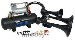 HornBlasters Outlaw Black 228H Loud Train Air Horn Kit for Truck with Compressor