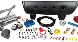 HornBlasters Outlaw Black 540 Loud Train Air Horn Set Kit with VIAIR Compressor