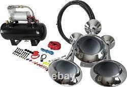 HornBlasters Outlaw Chrome 127H Loud Train Air Horn Kit with 275C Compressor