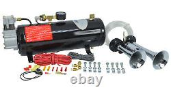 HornBlasters Spocker Compact 3 Liter Loud Air Horn Kit for Truck with Compressor