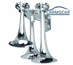 LOUD 152dB 3 TRUMPET TRAIN AIR HORN +3 GAL TANK/200PSI COMPRESSOR TRUCK BOAT