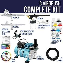 Master 3 Airbrush Air Compressor Kit, Testors Aztek 6 Colors Acrylic Paint Set