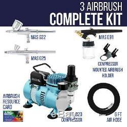 Master 3 Airbrush Air Compressor System Kit, Hobby, Auto, Cake, Tattoo Art Paint