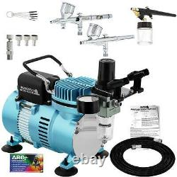 Master 3 Airbrush and Air Compressor Kit 0.2mm Fine Detail 0.3mm Gravity, Siphon