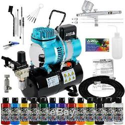 Master Airbrush Air Compressor Kit 3 Tip Airbrush 12 Createx Wicked Paint Colors