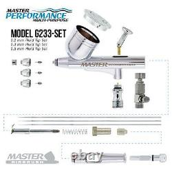 Master Airbrush Air Compressor Kit with G233 Gravity Feed Airbrush 3 Tip Pro Set