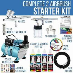 Master Airbrush Compressor Kit with 2 Airbrushes, 6 Acrylic Paint Colors Art Set