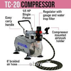 NAIL ART AIRBRUSH KIT-SET-Air Compressor-Paint-20pk Stencil Design Dual Action