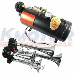New 150 PSI 3 Liter 12V Air Compressor With 4 Trumpet Chrome Train Air Horn