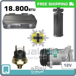 New AC Kit Universal Dash, Compressor, Drier, P. Switch Kit Air Conditioner 12V
