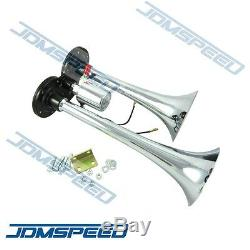 New Train Horn Kit Loud Dual 2 Trumpet with 120 PSI Air Compressor Complete System