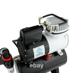 OPHIR 220V Air Compressor with Tank Fan for Airbrush Kit