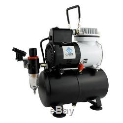 OPHIR Airbrush Air Compressor Kit with Tank and Fan for Hobby Tanning Tattoo