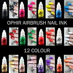 OPHIR Nail Airbrush Kit Supply Air Brush Compressor with 12x Nail Inks for Nail
