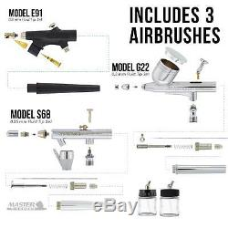 Pro Airbrush System with 3 Airbrushes Deluxe Air Compressor & 6 Paint Colors
