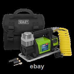 Sealey Mini Air Compressor 12V Heavy Duty DIGITAL Storage Bag Accessory Kit