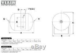 TRIPLE TRUMPET TRAIN AIR HORN VIAIR 120psi COMPRESSOR 1/2 Gal. TANK Kit Loudest