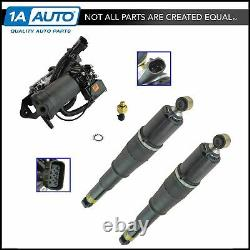 TRQ Air Ride Suspension Compressor with Dryer Rear Shock Absorber Kit Set 3pc