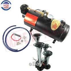 Train Air Horn Kit 4 Trumpet Chrome Air Horn, 150 PSI 3 Liter 12V Air Compressor