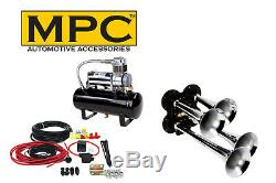 Train Air Horn Kit Four Trumpets with 12-Volt Heavy Duty 150 PSI Compressor