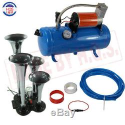 Train Horn Kit Loud Dual 4 Trumpet with 120 PSI 6L Air Compressor Complete System