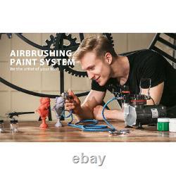 VIVOHOME 3 Airbrush Compressor Kit Dual-Action Spray Air Brush Tattoo Nail Art