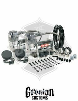 Viair 380C CHROME Dual Pack Compressor Kit 200 PSI Train Horns Air Ride Bagged