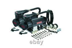 Viair Dual 485C Stealth Black Air Compressor Kit Air Ride, Train Horns -200 PSI