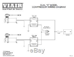 Viair Dual Black 444C 200 PSI Max Air Compressor Kit FREE Relays and PSI switch