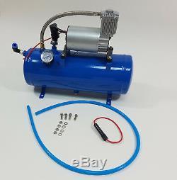12v Double Double Trompette 150 Db Kit Air Horn Avec 6 150 Litres Psi Compresseur New