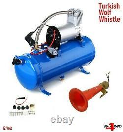 12v Wolf Whistle Trumpet Turkey Air Horn Kit & 6 Litres 150 Psi Compresseur Uk