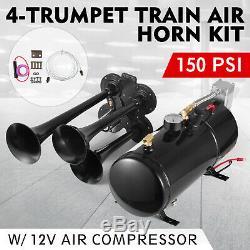 150db 4 Trompette Train Kit Cor Avec 150 Psi Compresseur D'air Pour Voitures Camion Train