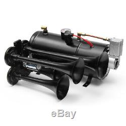 150db Car Camion Train Quad 4 Trompette Air Horn Kit 170psi 12v Compresseur 3 Litres