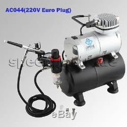 220 V Ophir Forme De Cylindre 1 / 6hp 0-4bar Compresseur D'air Kit + 0,3 Airbrush Pour Le Modèle