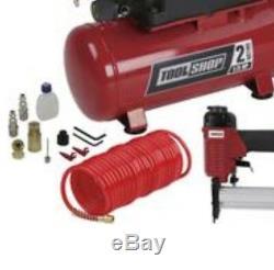 2 Gallon Électrique Compresseur D'air Combo Kit Gun Set Tuyau Cloueuse Agrafeuse Portable