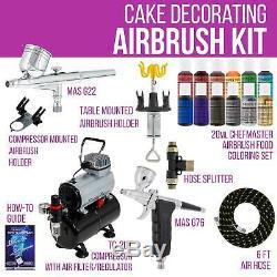 2 Gâteau Airbrush Décoration Réservoir Compresseur D'air Kit 12 Chefmaster Couleurs Set Alimentation