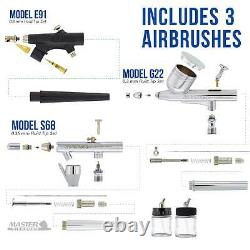 3 Master Airbrush Air Compressor Kit, Hobby, Auto, Cake, Tattoo Art Paint
