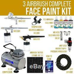 3 Pochoirs Pour Art Corporel Avec Tatouage Personnalisé Pour Compresseur D'air Avec Système De Peinture Pour Le Visage 3 Aérographie