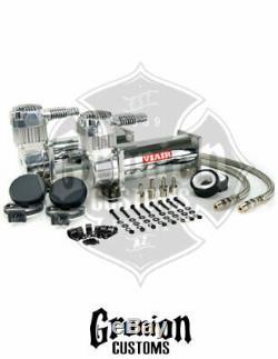 444c Chrome Compresseurs Dual Pack Viair Low Air Tour Sac Des Douanes Chevy C10
