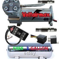 480c Compresseur D'air Tour Kit 200psi Nominale Free 3 Gl Inoxydable Réservoir / 7-switch Cont