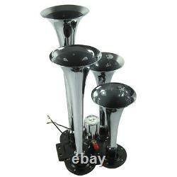 4 Trompette 150db Truck Train Air Horn Kit Avec Chrome 6 Litres Compresseur D'air Nouveau