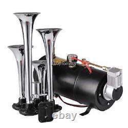 4 Trompette Air Horn 12 Volt Compresseur Train 100 Psi Kit Avec Réservoir Et Jauge