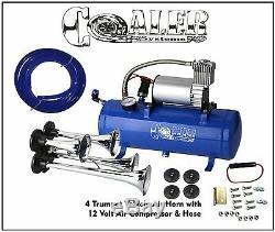 4 Trompette Air Horn 12v Compresseur Kit Bleu Réservoir Calibre Pour Voiture Train Camion