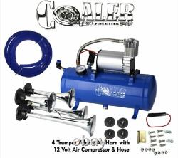 4 Trompette Air Horn 12v Compresseur Kit Blue Tank Gauge For Car Train Truck
