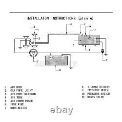 4 Trompette Camion Air Horn 12v Compresseur Tubing 150 Db Train 180 Psi Kit