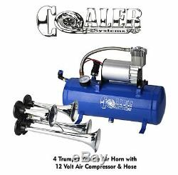 4 Trompette Train Air Horn Kit 120psi 150db Système D'air Avec 12v Compresseur D'air