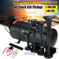 4 Trompette Train Air Horn Kit 12v 180 Psi 1 Gallon Compresseur Car Camion Ramassage Us