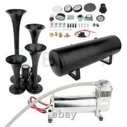 4 Trompettes Train Horn Kit For Truck Car Semi Loud System Air Compresseur 200psi