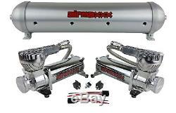 5 Gallons Réservoir D'air En Aluminium Brossé Compresseurs D'air Et Double 580 Chrome Airmaxxx