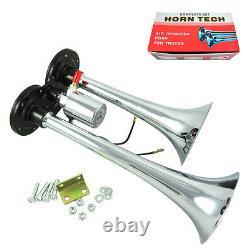 Air Horn Compresseur Train Kit Fort Dual 2 Trompette Avec 120 Psi Système Complet